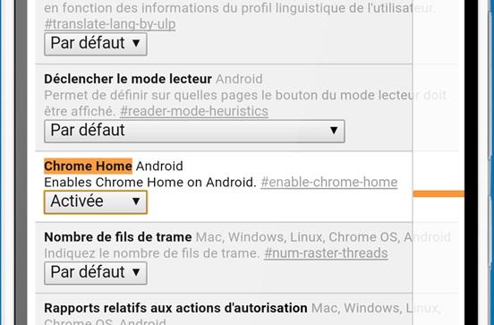 Barre d'adresse Google Chrome bas