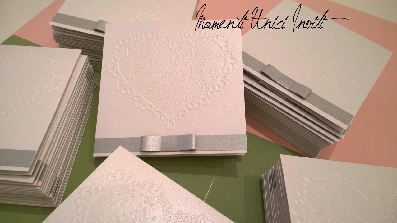 """laura3 Partecipazioni """"Romantiche Atmosfere"""" personalizzate per L&RColore Argento Colore Bianco Tema cuori"""
