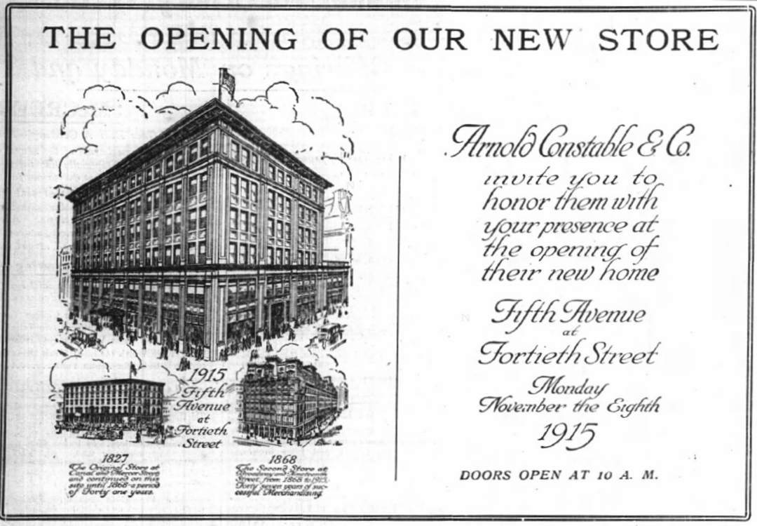 The Department Store Museum: Arnold, Constable & Co. New