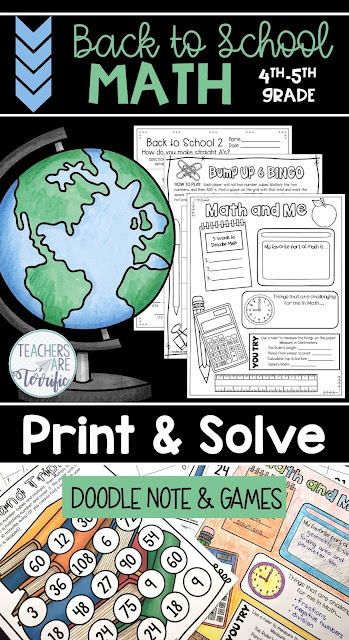 Back to School Math Practice sheets ready to print and use in just a few minutes!  This is perfect for review of skills for the beginning of the school year in your upper elementary classroom!  This set features fourth and fifth-grade skills of addition, subtraction, multiplication, and logic puzzles. Sheets have space for solving and some have an answer column for ease in grading. The resource also includes a doodle sheet and two gameboards! #Mathworksheets #backtoschool