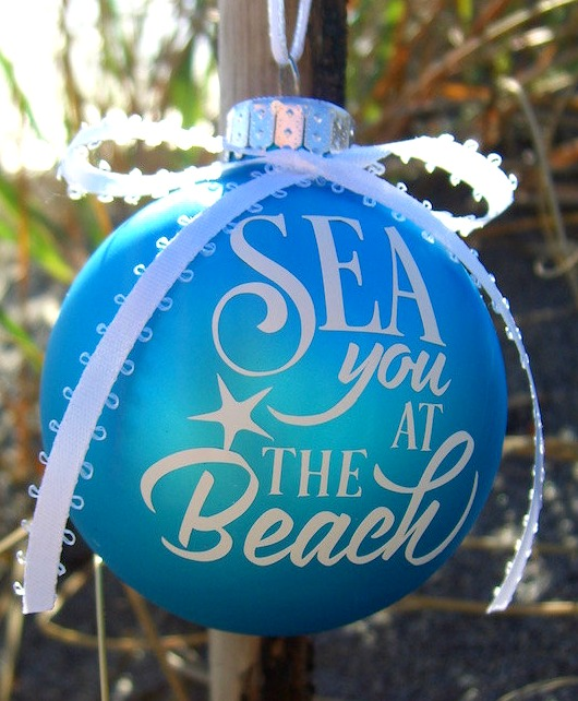 Blue Beach Quote Ornament