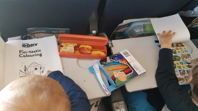 Flying with two toddlers tips: activity packs colouring stickers | AwayFromTheBlue