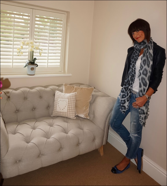 My Midlife Fashion, Massimo Dutti Leather biker jacket, Lily and lionel leopard print scarf, zara loose fit t-shirt, zara distressed cigarette length jeans, quilted ballet pumps
