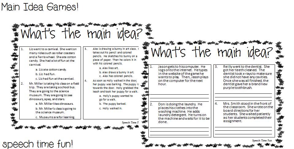 Main Idea Games!  Speech Time Fun: Speech and Language Activities