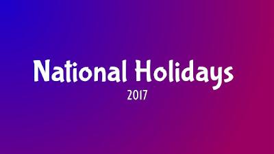 National Holidays 2017