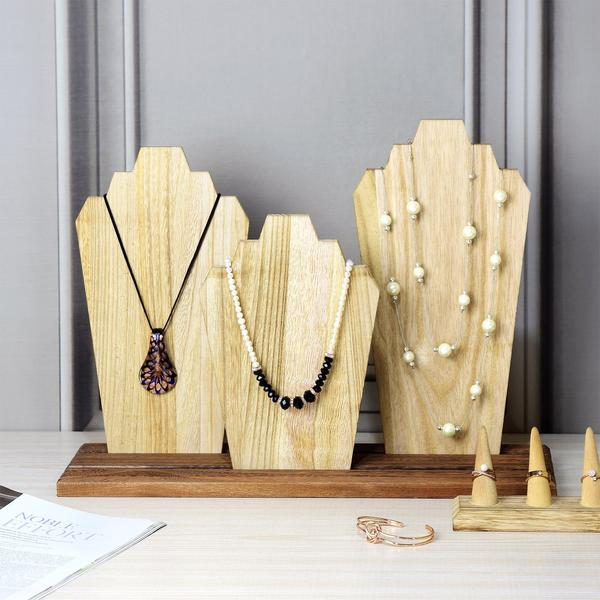 These Wooden Necklace Holder Jewelry Display Bust Stands are perfect spring displays