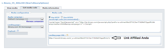 login ke menu afiliasi binary dan segera lakukan pengaturan