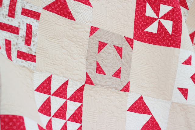 Red and cream sampler quilt