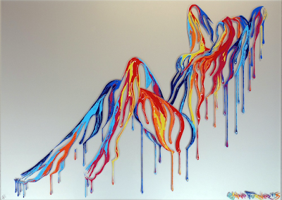 Painting of a woman in a reclined pose created using negative space and dripping colorful acrylic paint. Silkscreened on top of a sheet of Perspex Acrylic by canadian artist Shane Turner and graffitiprints.