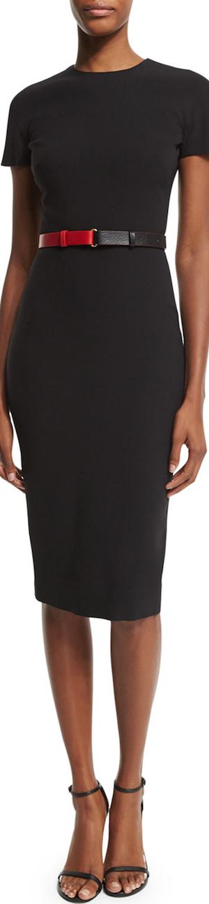 Victoria Beckham Short-Sleeve Belted T-Shirt Dress
