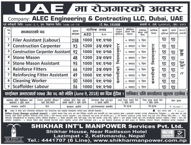 Jobs in Dubai for Nepali, Salary Rs 35,052