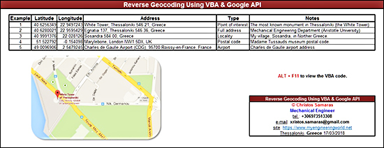 Reverse Geocoding Using VBA & Google API
