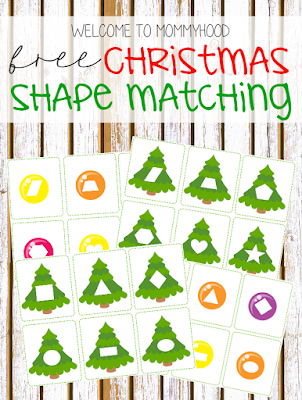 Christmas activities: shape matching for toddlers by Welcome to Mommyhood #montessori, #montessoriactivities, #toddleractivities, #christmasactivities