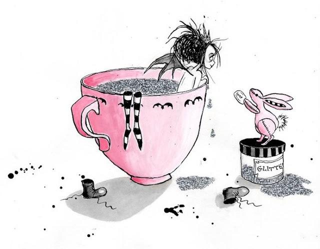 Victoria Stitch in a teacup glitter bath