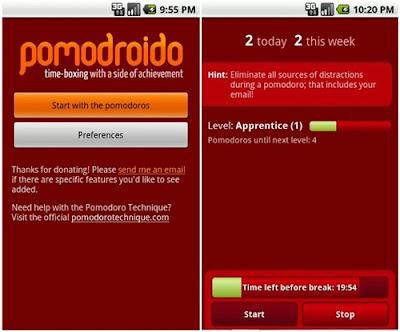 aplikasi untuk para penulis pomodroido