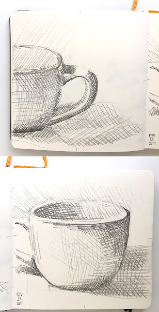 Daily Art 11-12-17 still life sketch in graphite - white mug