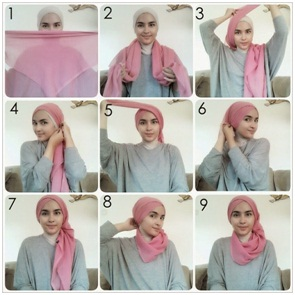 Tutorial Hijab Paris Segiempat Turban