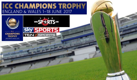 ICC Champions Trophy 2017 Broadcasting Rights, Tv Channels