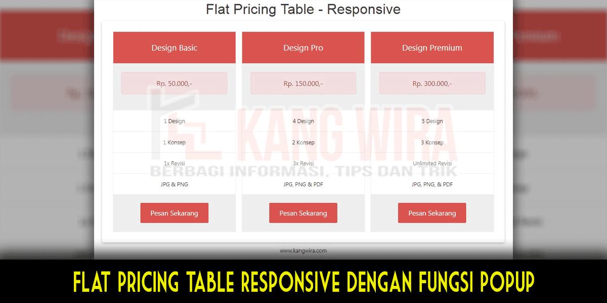 Cara Membuat Flat Pricing Table Responsive Dengan Fungsi Popup