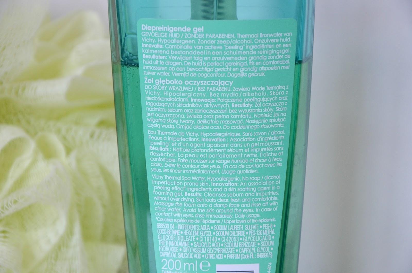 Gel nettoyant purifiant profond' Normaderm Vichy conseils d'utilisation et ingrédients