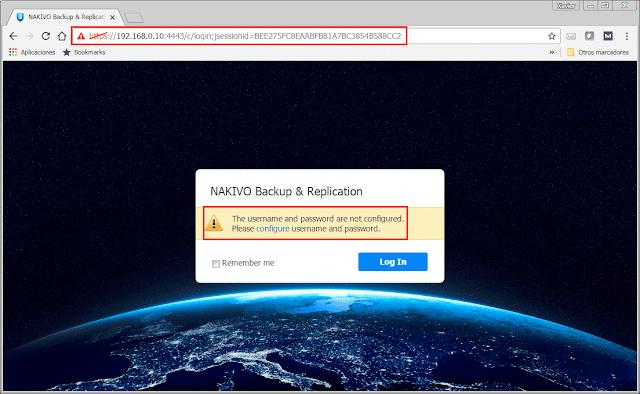 Consola de configuración Web - Nakivo.