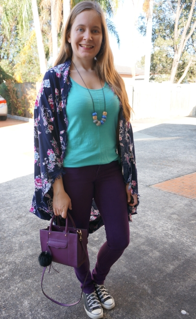 turquoise tank, purple skinny jeans and bag with navy floral kimono, playgroup style | away from blue