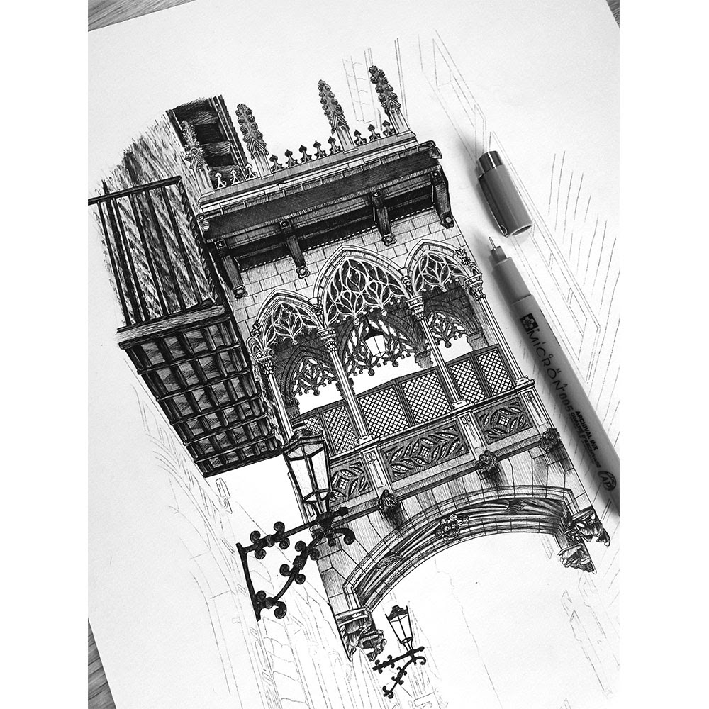 02-Pont-del-Bisbe-Barcelona-Spain-WIP-Elizabeth-Mishanina-Architecture-Immaculate-Drawing-Technique-www-designstack-co