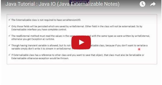 Java ee java tutorial java io java externalizable notes for Object pool design pattern java