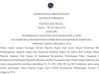 PENGUMUMAN CPNS KEMENTERIAN PERHUBUNGAN TAHUN 2018 TERSEDIA FORMASI UNTUK SMA/MA/SMK SEDERAJAT