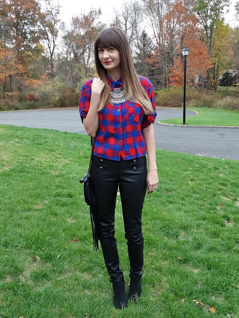 Plaid is huge for fall! Style it with leather pants and a statement necklace for an edgy look! As worn by Jen of House Of Jeffers | www.houseofjeffers.com