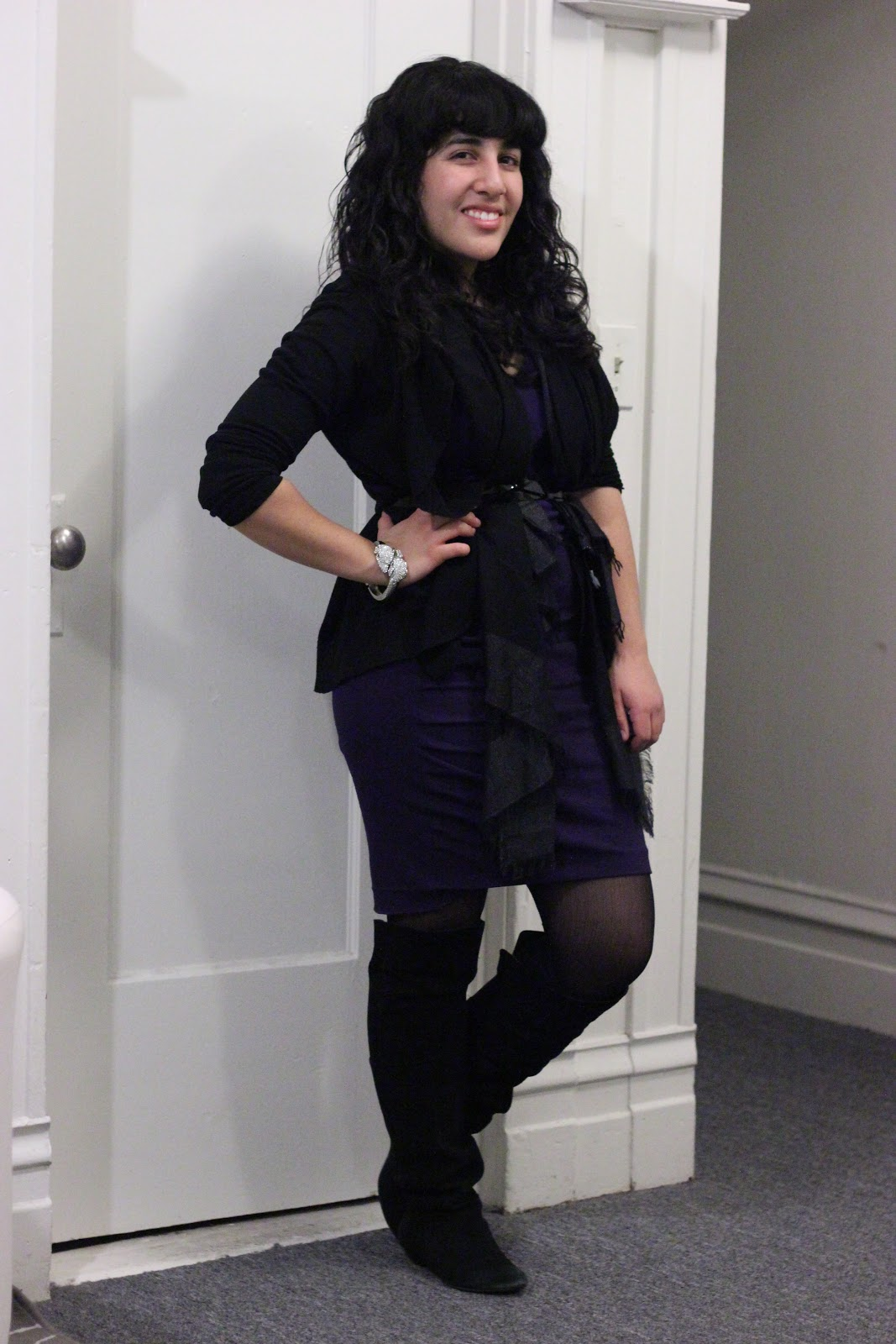 DVF Purple Dress and F21 Cardigan Winter Outfit
