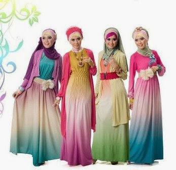 Model Gaun Muslim Pesta Sifon dan Taff Modern Terbaru