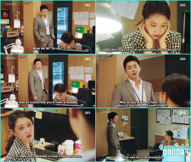 hwa shin told na ri why did she make his heart flutter and na ri told its her final weather broadcast - Jealousy Incarnate - Episode 2 Review