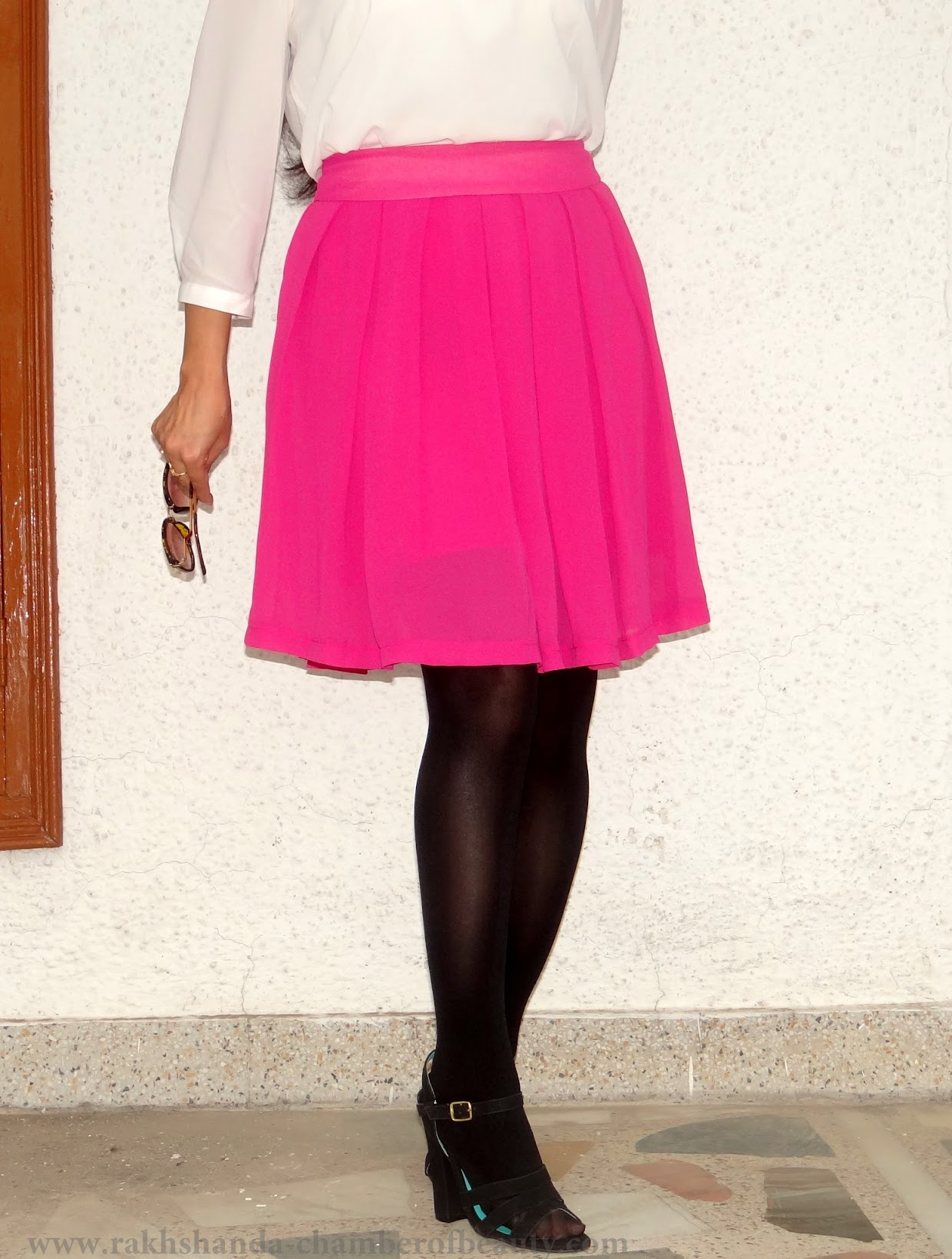 Walktrendy White top & pleated pink skirt-OOTD | Fashion trends 2015, how to style a skater skirt, summer fashion, OOTD, Indian fashion blogger, Chamber of Beauty