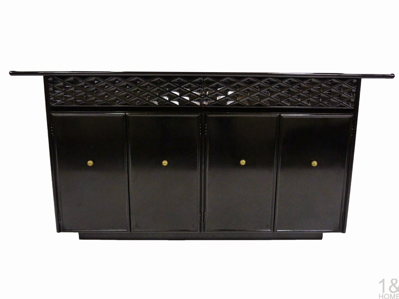 Ebonized mid-century modern Black Lacquered Empire Contemporar Furniture Credenza Sideboard