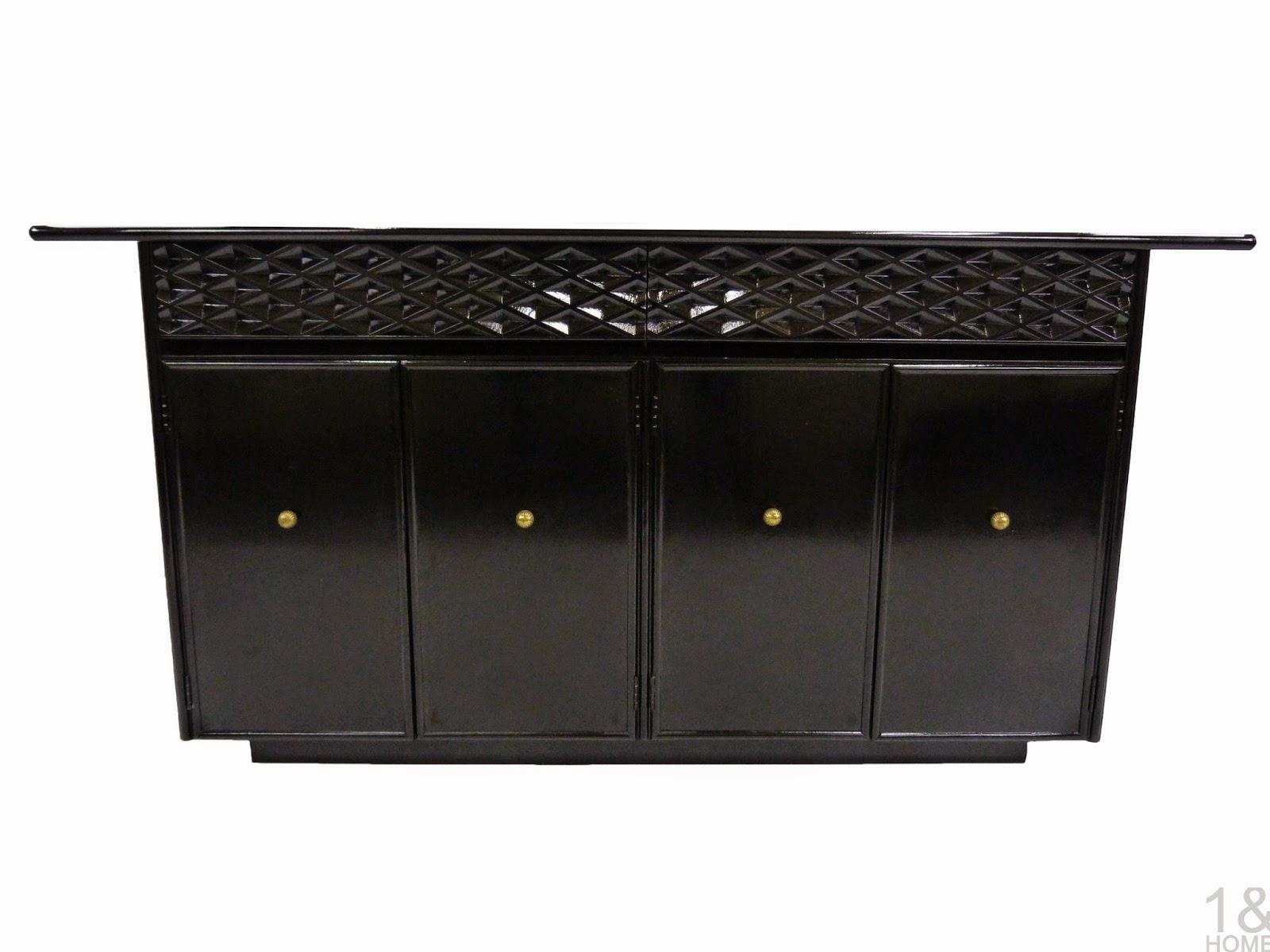 Ebonized mid-century modern Black Lacquered Empire Contemporar Furniture Credenza Sideboard