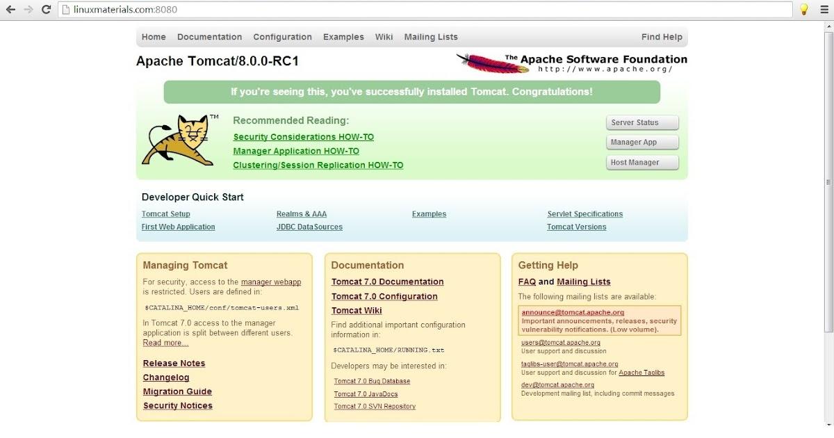 BSR Technologies: Install Apache tomcat 8.0.X on RHEL/CentOS 6