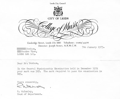 Leeds College of Music Letter 1975