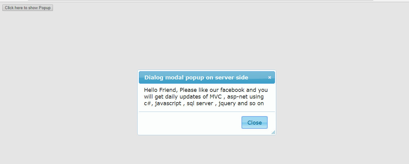 Dialog modal popup on button click from Server Side (Code