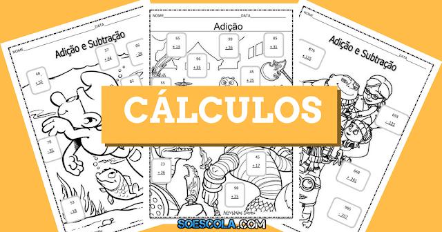 Nesta postagem trago para vocês algumas atividades de matemática prontas para imprimir com exercícios de adição, subtração, divisão e multiplicação.