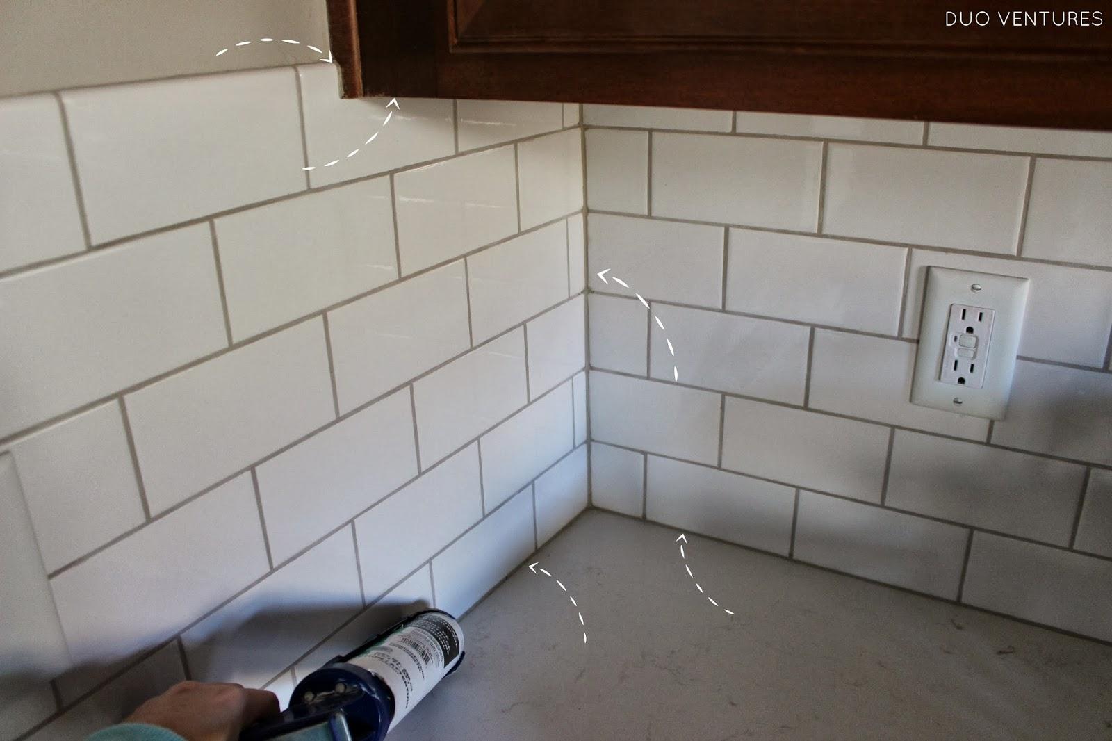 Best Kitchen Gallery: Duo Ventures Kitchen Update Grouting Caulking Subway Tile Backsplash of Caulking Kitchen Cabinets on rachelxblog.com