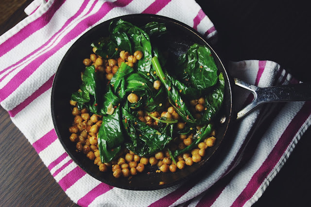 Wilted Baby Leaf Greens with Lemon Chickpeas