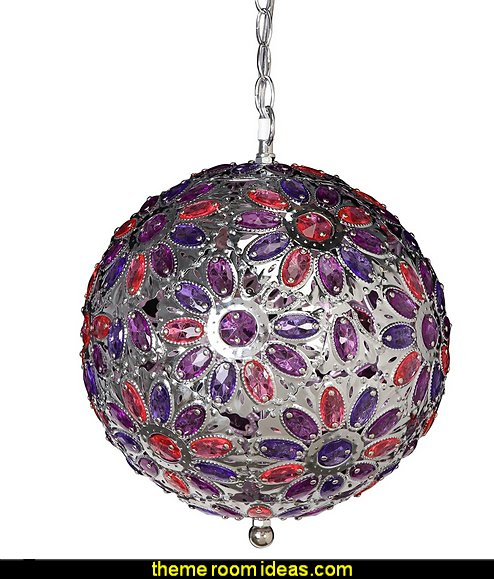 Crystal Floral Sphere Chandelier, Purple Pink  I Dream of Jeannie theme bedrooms - Moroccan style decorating - Jeannie bedroom harem style - Arabian Nights theme bedrooms - bed canopy - Moroccan stencils - I dream of Jeannie bottle - satin bedding - throw pillows - Moroccan furniture