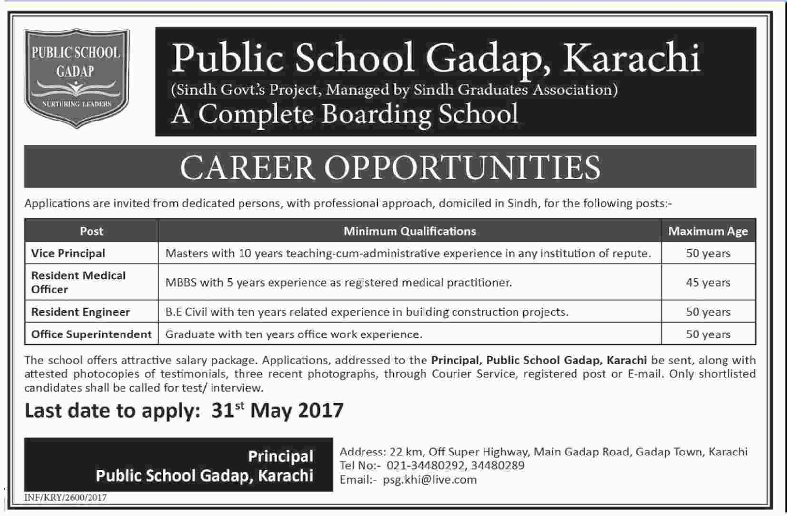 jobs in Public School Gadap Karachi  15 May 2017
