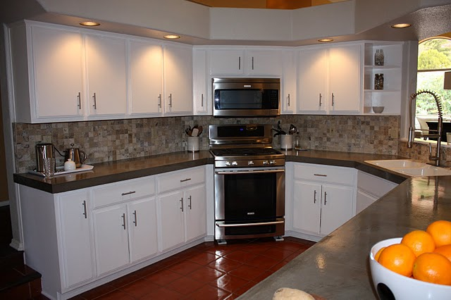 Kitchen Cabinet Backsplash Endearing Remodelaholic  Quick Install Of Concrete Countertops Kitchen . Design Ideas