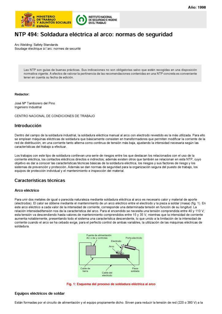 Soldadura eléctrica al arco: Normas de seguridad