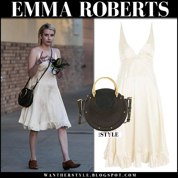 Emma Roberts in beige ruffled silk dress topshop with round bag chloe street style october 27 2017