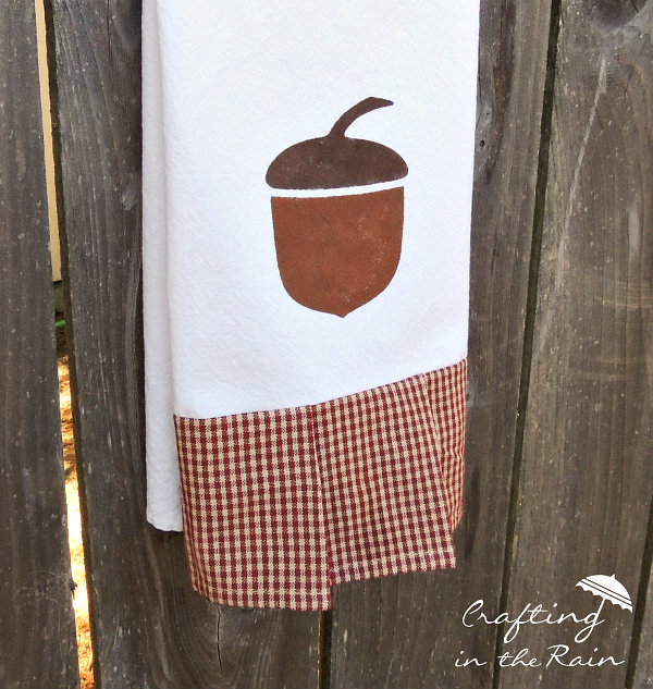 Acorn Tea Towel Freezer Paper Stencil Tutorial • Mabey She