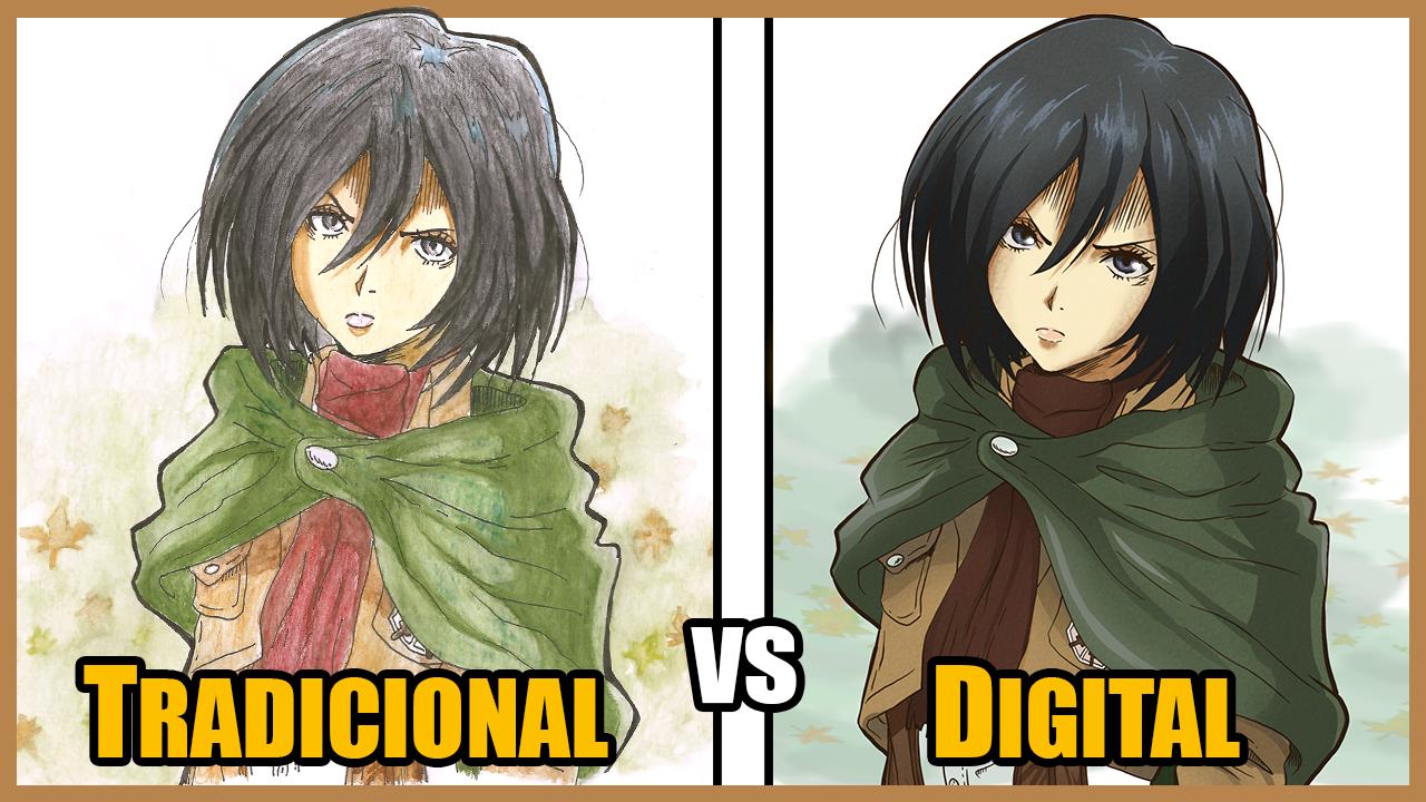 Arte Tradicional e Arte Digital   Mikasa Ackerman