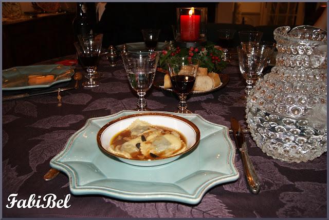 Ravioles au foie gras et aux truffes sauce Porto